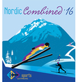 retro poster nordic combined in mountains vector image vector image
