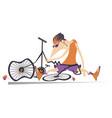 sad cyclist and broken bike vector image vector image
