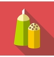 Salt and pepper shakers icon flat style vector image