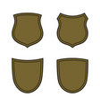 shield shape bronze icons set simple flat logo on vector image vector image