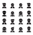 silhouette user man woman icon set vector image