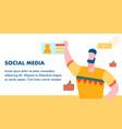 social media worldwide network flat banner layout vector image