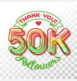 thank you 50k followers vector image