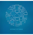 Thin Line Internet of Things Icons Set Circle vector image vector image