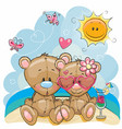 two bears on the beach vector image vector image