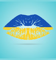 ukraine flag lipstick on the lips isolated on a vector image vector image