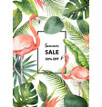 watercolor summer sale banner of tropical vector image vector image