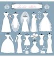 Wedding dressesaccessories setFashion flat vector image vector image