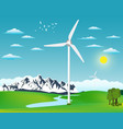 wind turbine landscape ecology environmental vector image vector image
