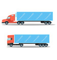 trucks with small cubic and spacious oblong shapes vector image
