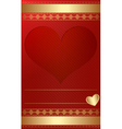 Golden vintage template with heart vector image