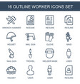 16 worker icons vector image vector image