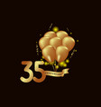 35 year anniversary gold balloon template design vector image vector image