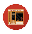 antique store front view flat icon vector image vector image