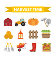 Autumn harvest time icons set flat cartoon style