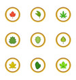 autumn leaves icons set cartoon style vector image vector image