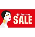Autumn sale Banner Fashion girl Bold minimal vector image vector image