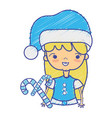 beauty girl with christmas clothes and sweet vector image