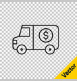 black line armored truck icon isolated on vector image vector image