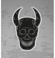black skull with horns vector image vector image