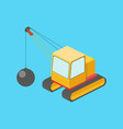 building destruction machine isometric vector image vector image