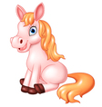 Cartoon of beautiful pink horse sitting isolated vector image vector image