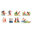 couple people spend time together set happy man vector image