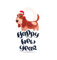 cute basset dog in santa hat on happy new year vector image vector image
