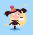 cute cartoon girl in a hat serves coffee vector image