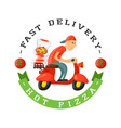 delivery pizza badge man on scooter vector image vector image