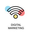 digital marketing icon and wifi icon on white vector image vector image