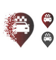 dissipated pixelated halftone taxi car marker icon vector image