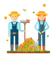 farmers rake autumn leaves farmers characters vector image