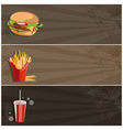 fast food banner with burgerfries and cola vector image vector image