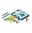 flight booking buying tickets online isometric vector image