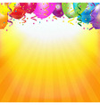 Frame With Colorful Balloons And Sunburst vector image vector image
