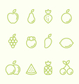 Fruit outline icon set flat design vector image vector image