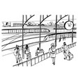 general view of railway platform with trains vector image