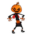 halloween scary orange yellow cartoon pumpkin vector image