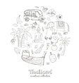 hand drawn doodle thailand travel set vector image vector image