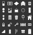 House related icons on black background vector image