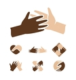 Isolated abstract dark and light skin human hands vector image