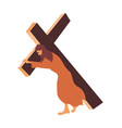 jesus carries cross to crucifixion vector image