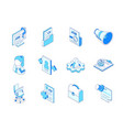 job search - colorful isometric line icons set vector image