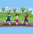 kids rollerblading outdoor vector image vector image