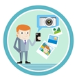 Man in suit with smartphone shows vacation photos vector image