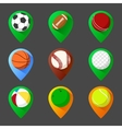 Mapping geo tag pin icon set with balls vector image