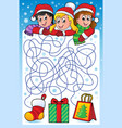 maze 10 with christmas theme vector image vector image