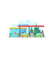 petrol filling station with mini supermarket vector image vector image
