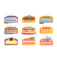 piece layered delicious cake set cakes vector image